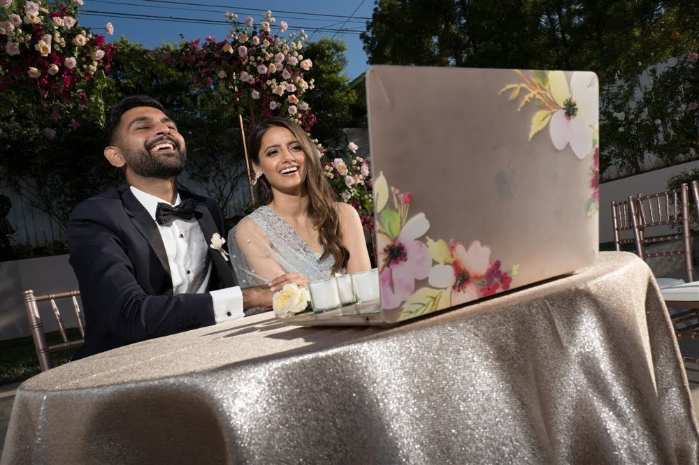 Noor and Sheazad chat with their virtual guests after getting hitched at their virtual wedding.