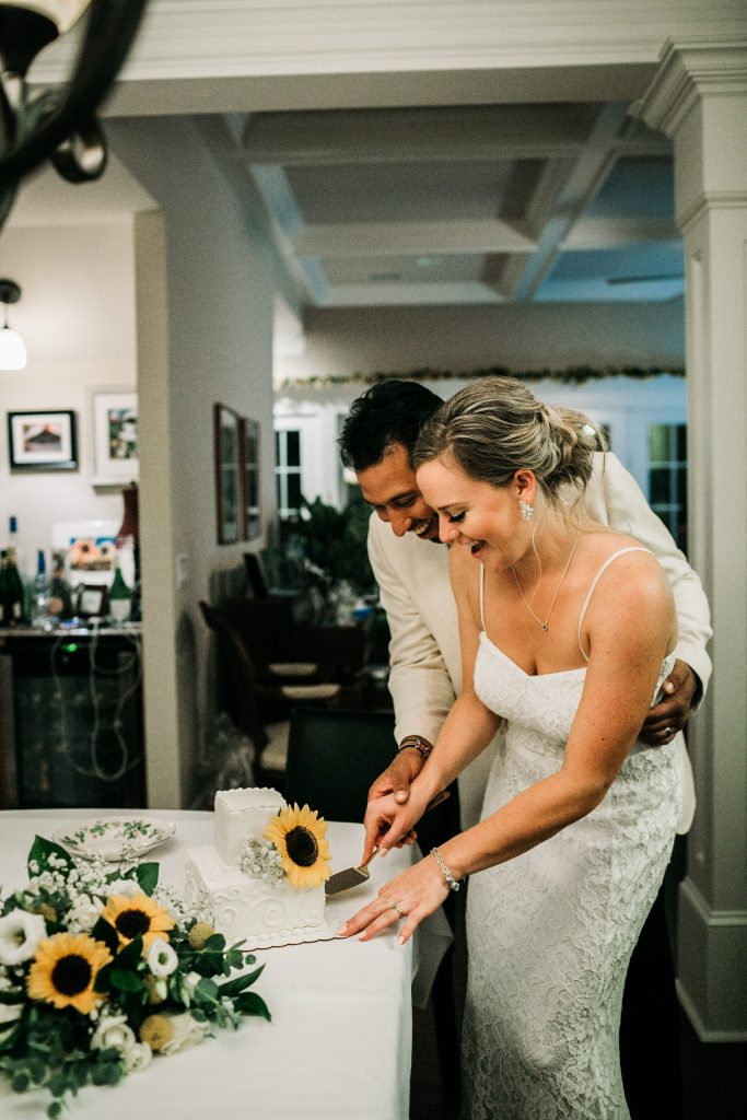 Michelle and Ryan's micro wedding was filled with beautiful details such as sunflowers and this delicious cake.