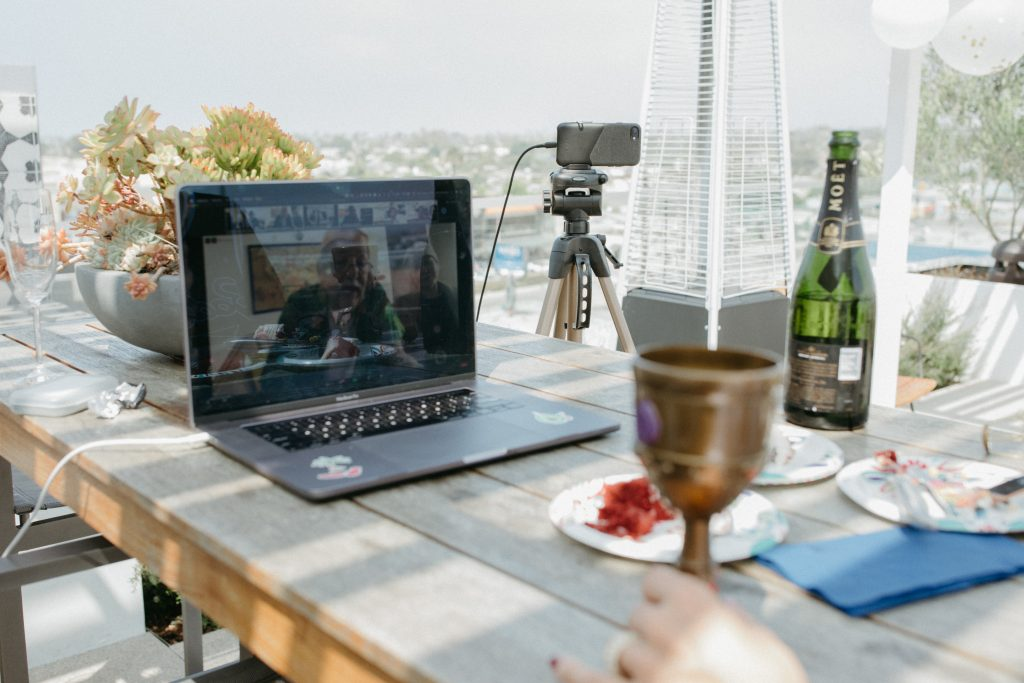 Consider an Ipad, laptop, TV or computer monitor next to you during the ceremony if your virtual wedding officiant isn't present with you in person.
