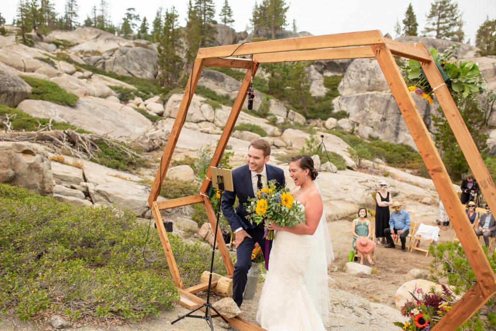 This wooden structure was a perfect anchoring piece for Dacklin and Marisa's virtual wedding ceremony.